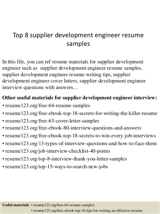 Vendor Development Engineer Resume top 8 Supplier Development Engineer Resume Samples