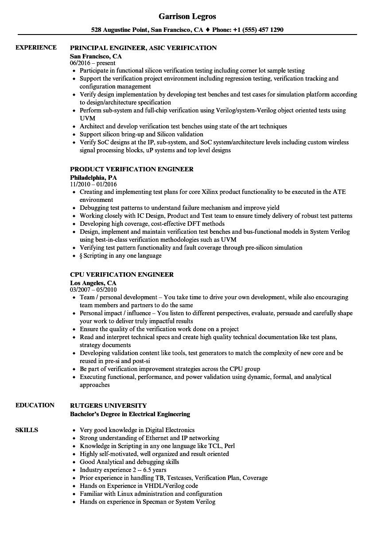engineer verification resume sample