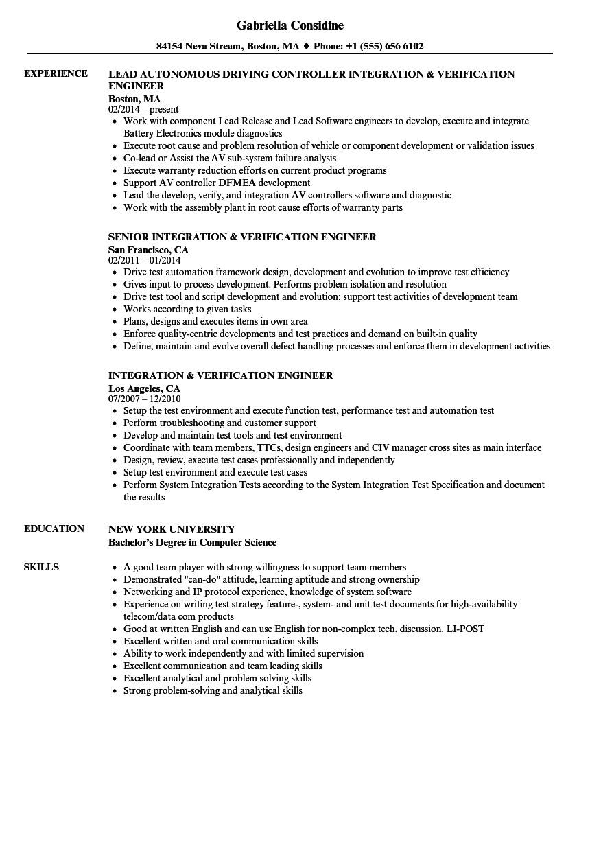 integration verification engineer resume sample