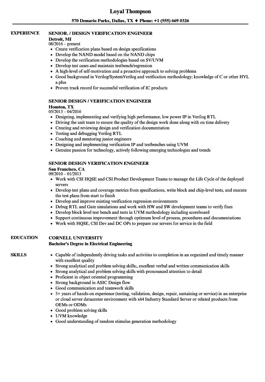 senior design verification engineer resume sample