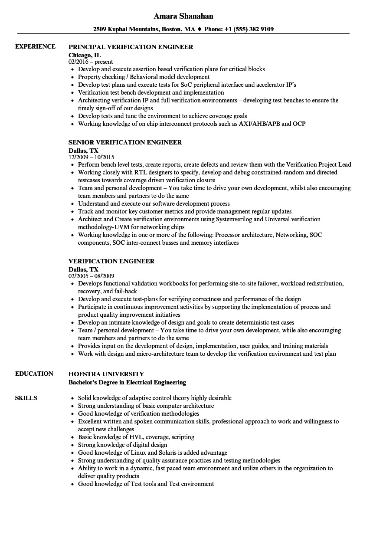 verification engineer resume sample