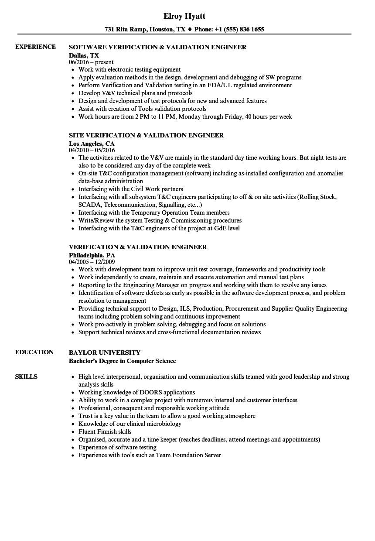 verification validation engineer resume sample