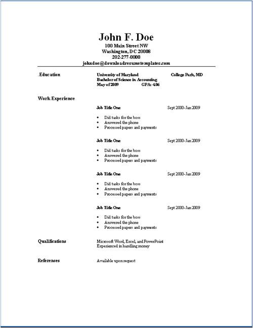 Very Basic Resume format Basic Resume Templates Download Resume Templates Job