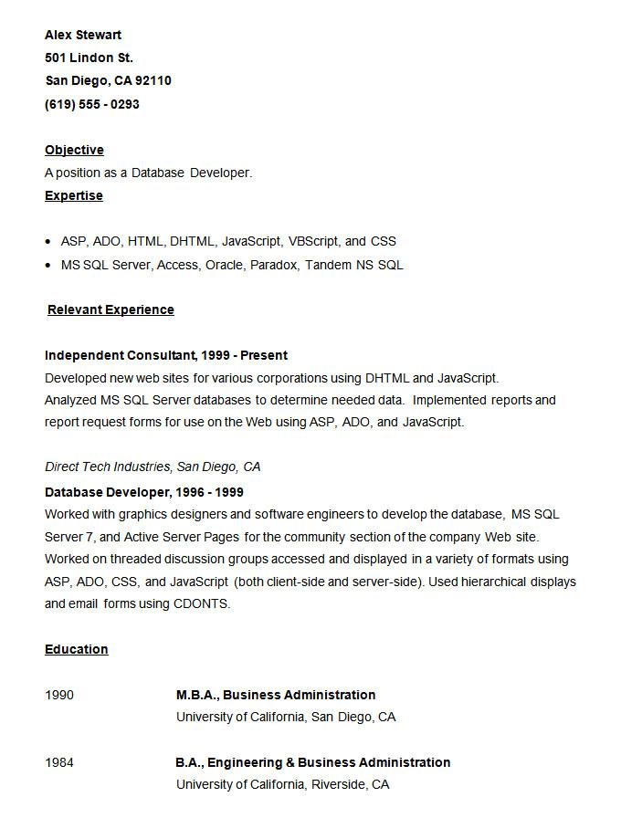 Visual Basic Resume Resume Templates 127 Free Samples Examples format