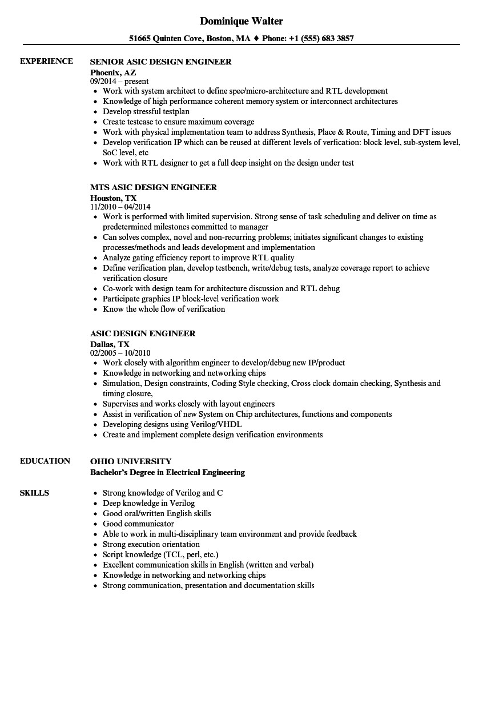 asic design engineer resume sample