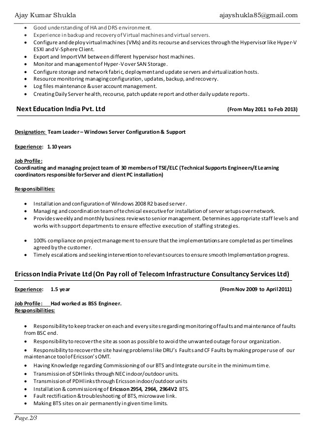 resume ajay shukla windows server