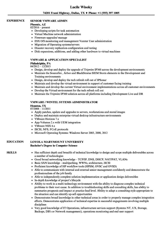 vmware resume sample