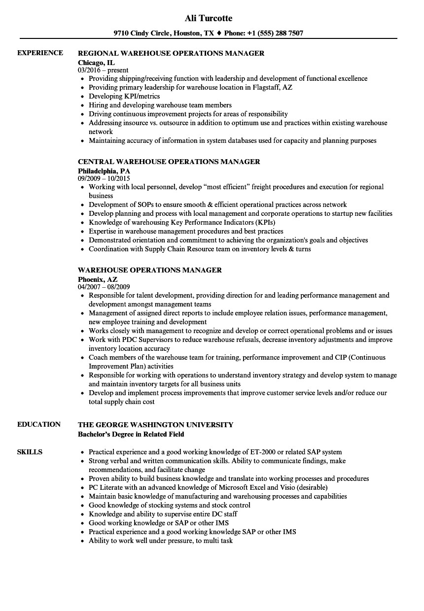 director of operations resume objectives