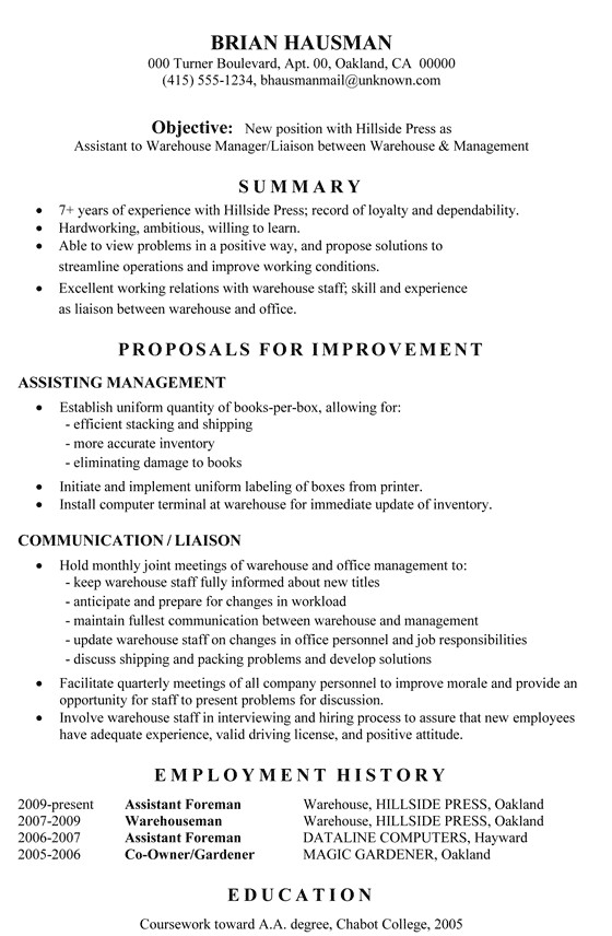 resume sample assistant warehouse manager
