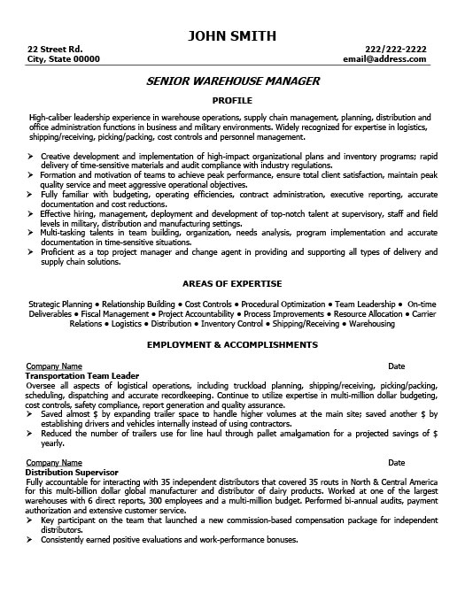 Warehouse Manager Resume Sample Warehouse Manager Resume Templates 11 Free Word Pdf