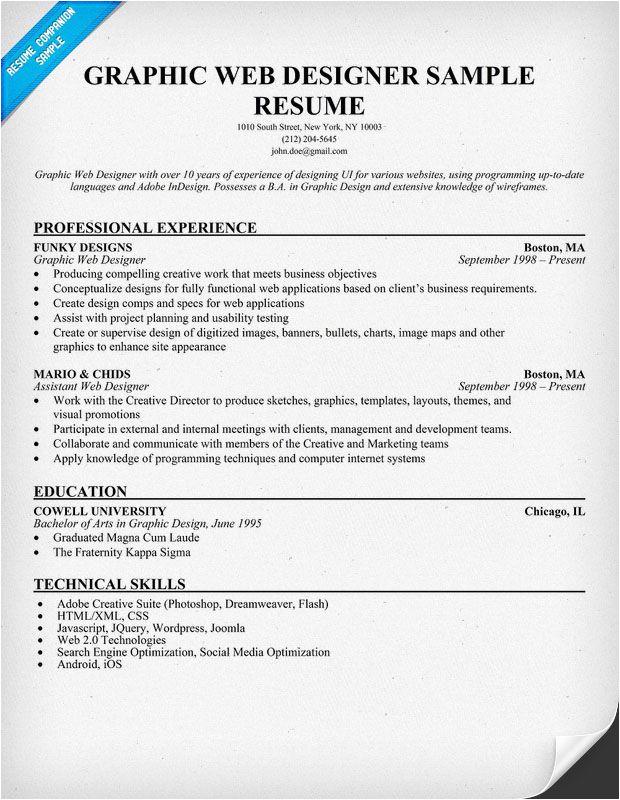 Web Designer Resume Sample Graphic Web Designer Resume Sample Resumecompanion Com