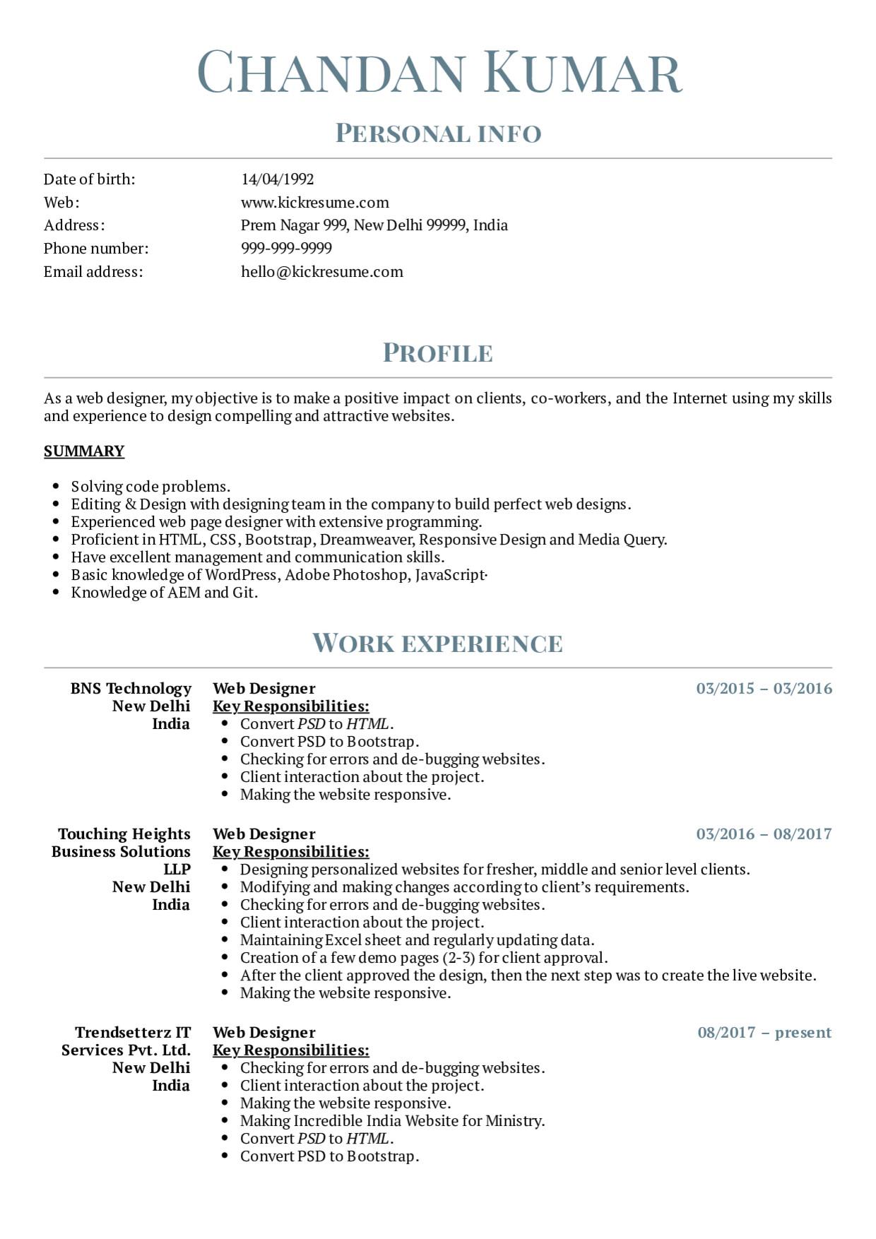 web designer trendsetterz resume sample