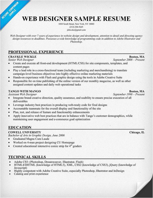 resume samples design