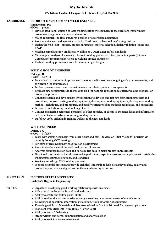 weld engineer resume sample
