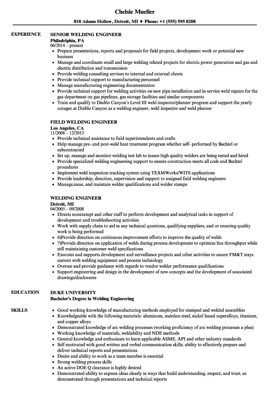 Welding Engineer Resume Welding Engineer Resume Samples Velvet Jobs