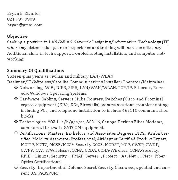 Wireless Network Engineer Resume Network Engineer Resume Clamper Pod Designer