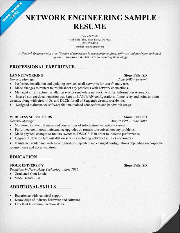 Wireless Network Engineer Resume Network Engineering Resume Sample Resume Prep Pinterest