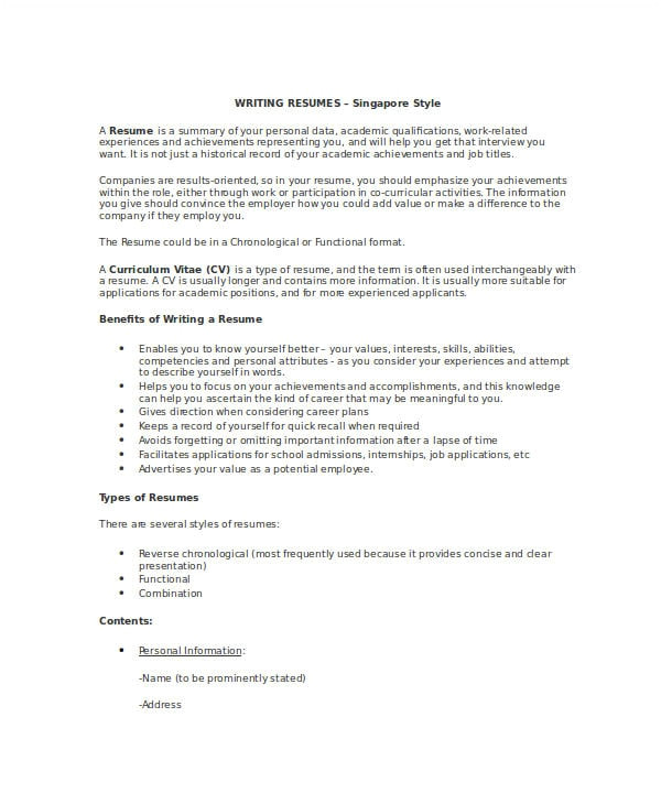 Writing A Basic Resume Free 7 Resume Writing Examples Samples In Pdf Doc