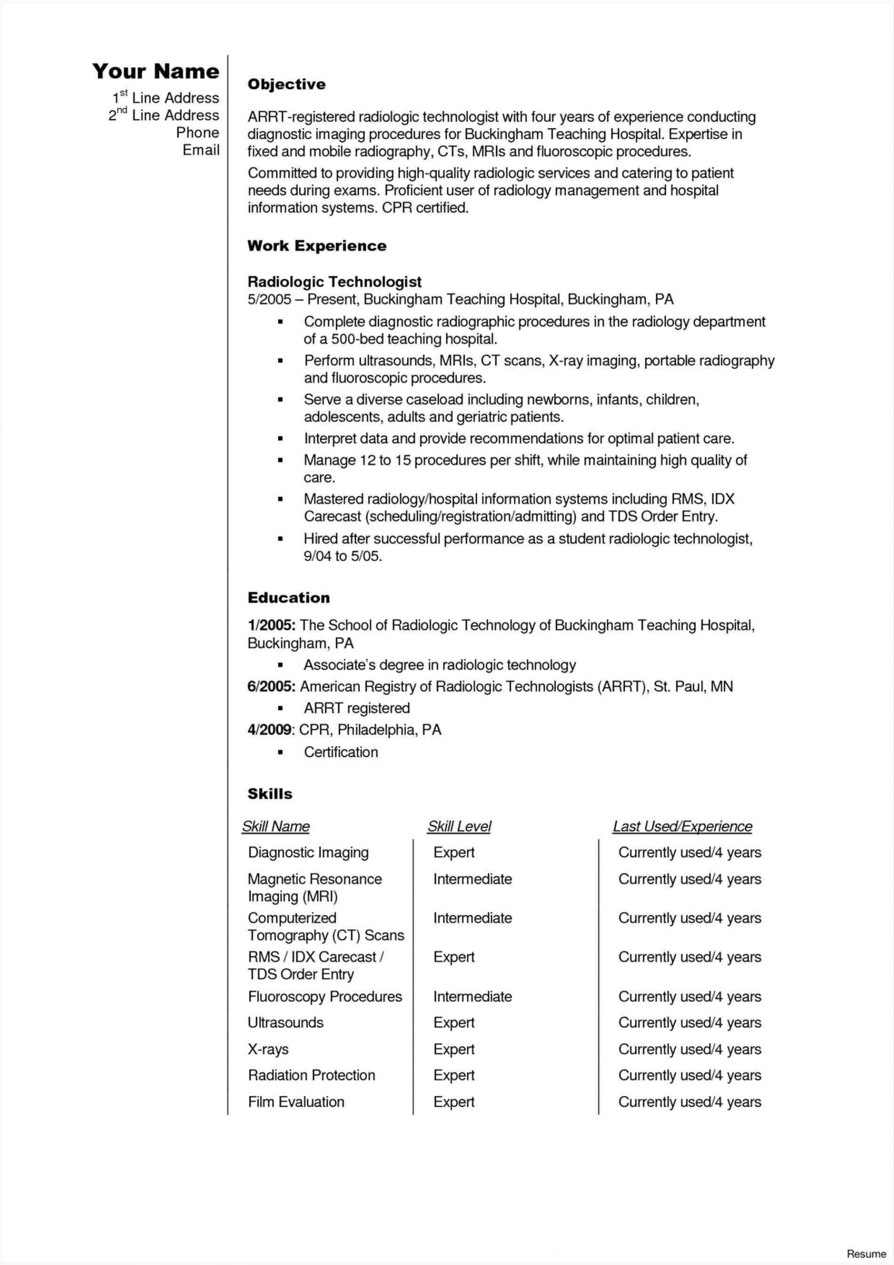 x ray tech resume sample