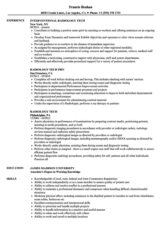 radiology tech resume sample