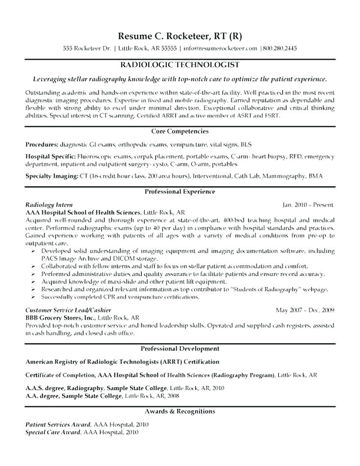 resume examples for x ray technologist