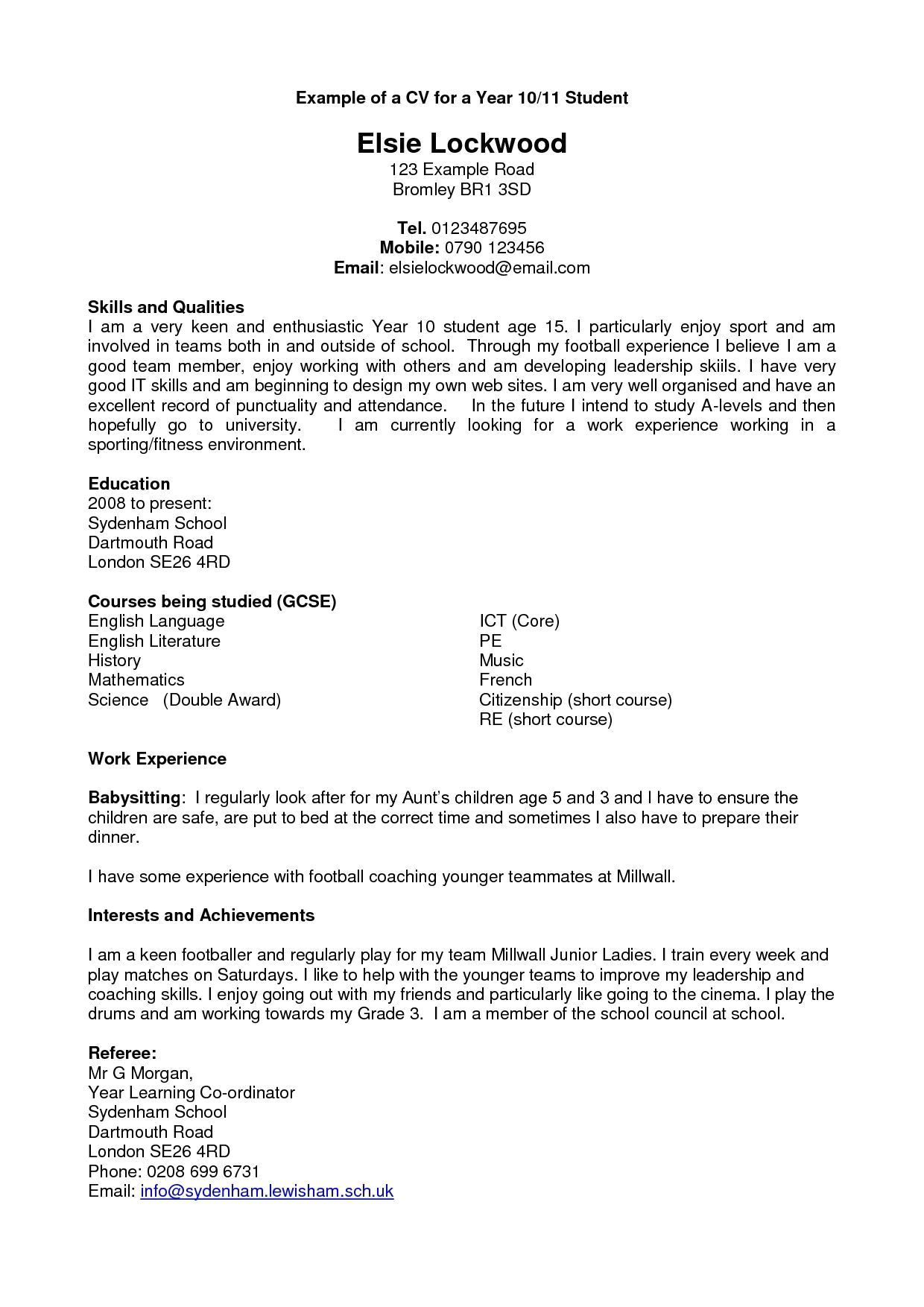 Year 10 Student Resume Resume Templates 10 Years Experience Experience Resume