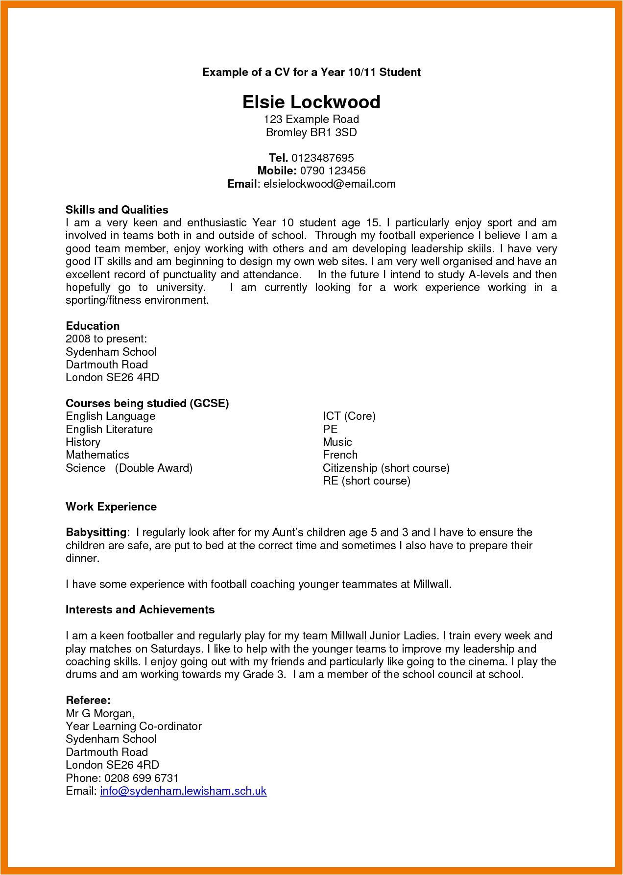 Year 11 Student Resume Cv Template Year 11 Cv Template Resume Examples Cv