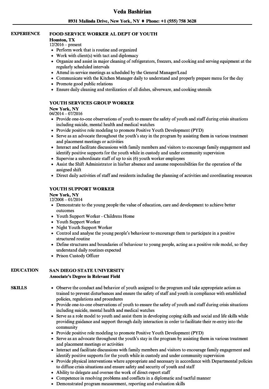 Youth Worker Resume Sample Youth Worker Resume Samples Velvet Jobs