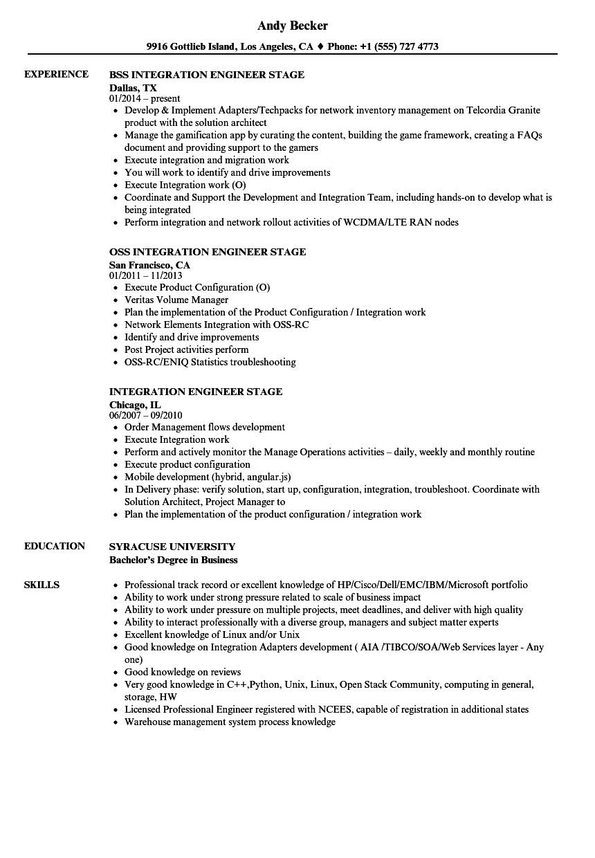 integration engineer stage resume sample