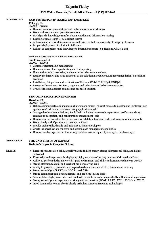 senior integration engineer resume sample