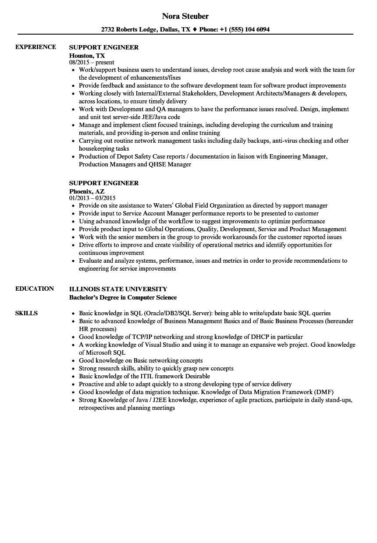 support engineer resume sample