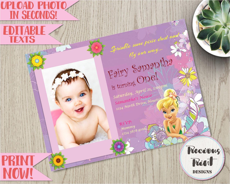 1st Birthday Invitation Card Free Download Tinkerbell Birthday Invitation Editable Fairy