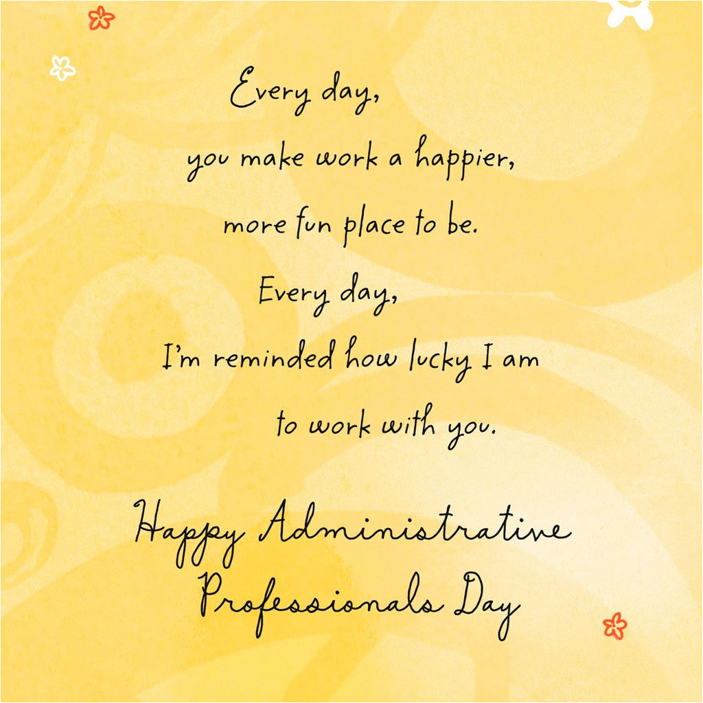 Administrative Professional Day Card Messages Lucky to Work with You Administrative Professionals Day Card