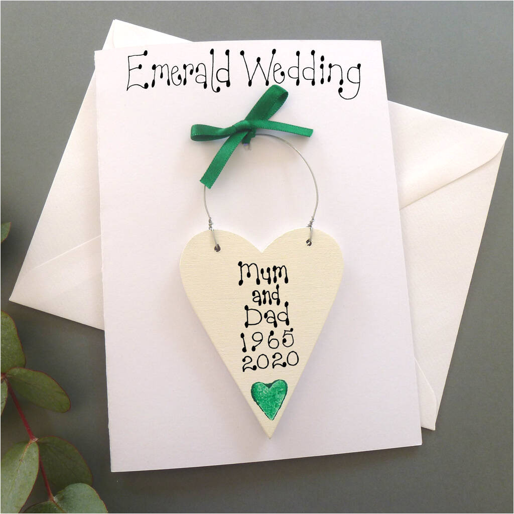 Anniversary Card Not On the High Street Personalised Emerald Wedding Anniversary Card