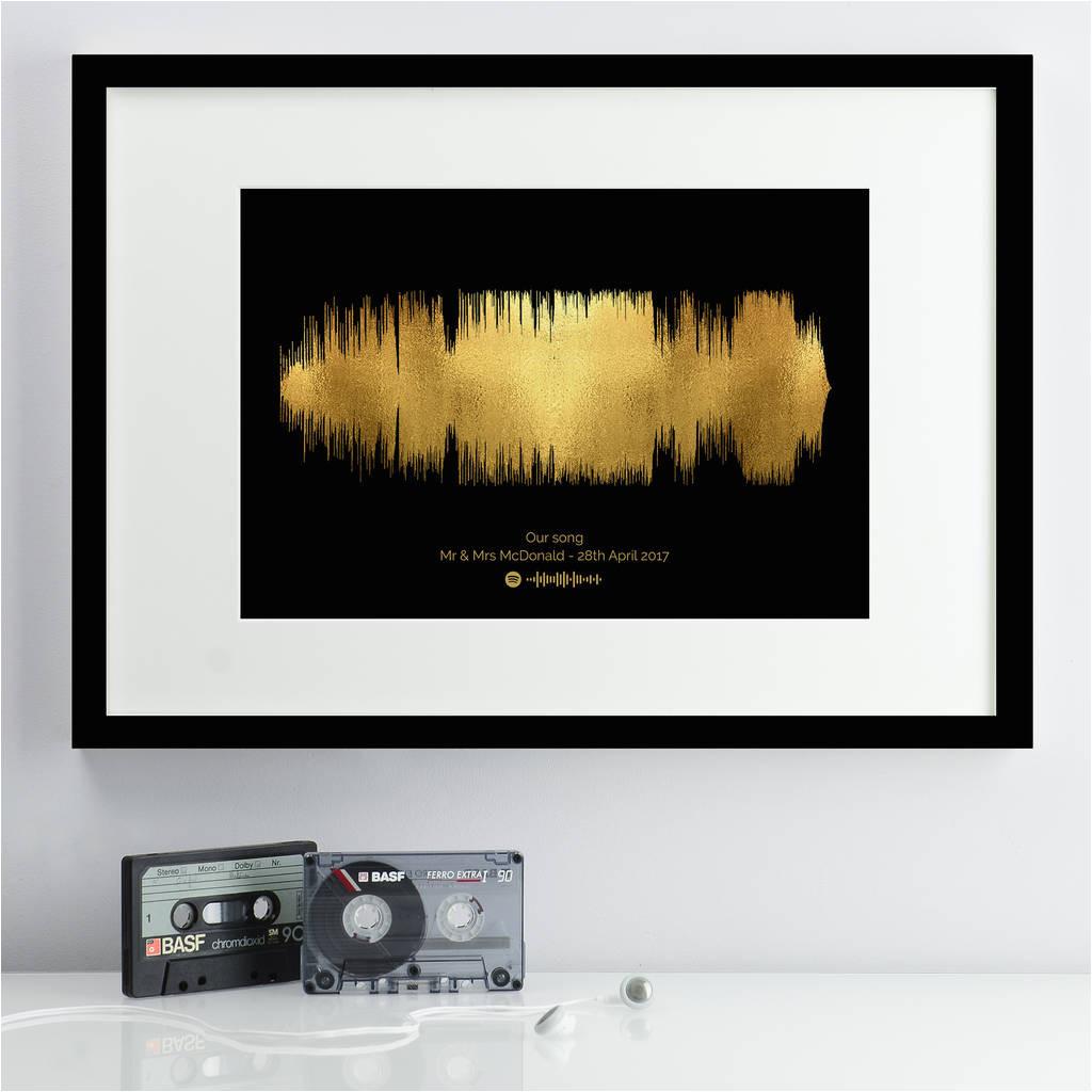 original personalised metallic textured sound wave print jpg