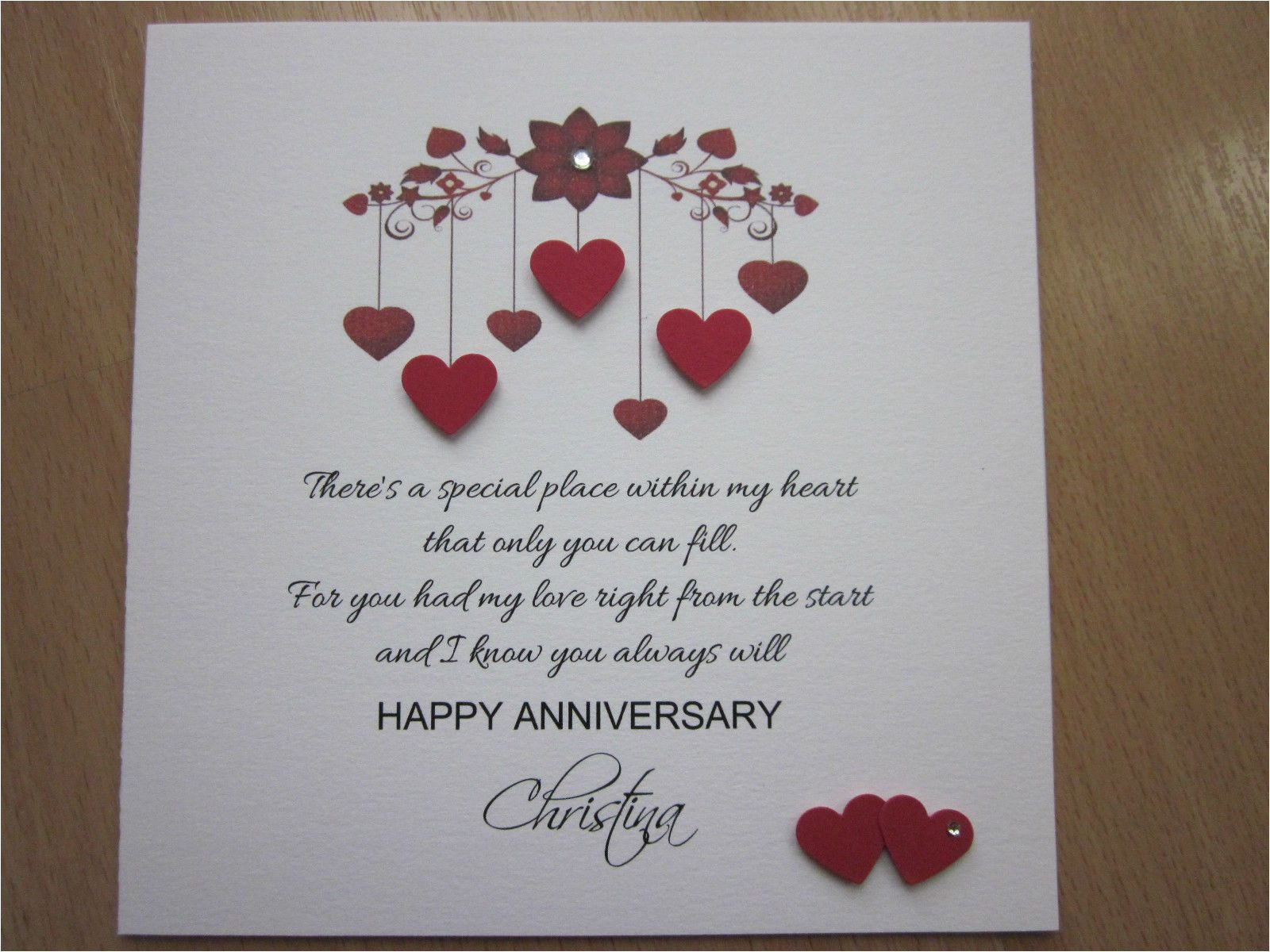 Anniversary Card Verse for Wife Details About Personalised Handmade Anniversary Engagement