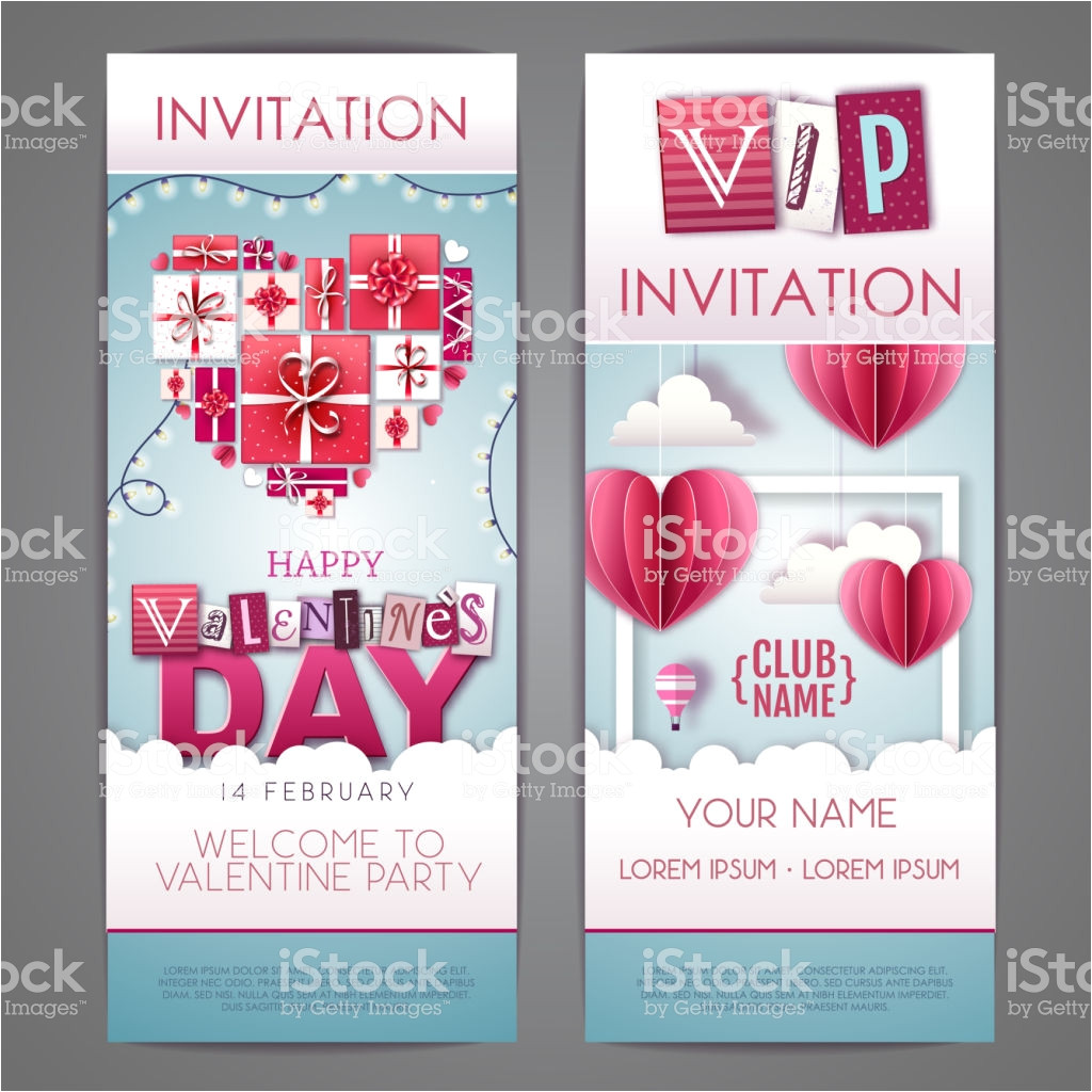 happy valentines day invitation design with love hearts cut out paper vector id1199692454