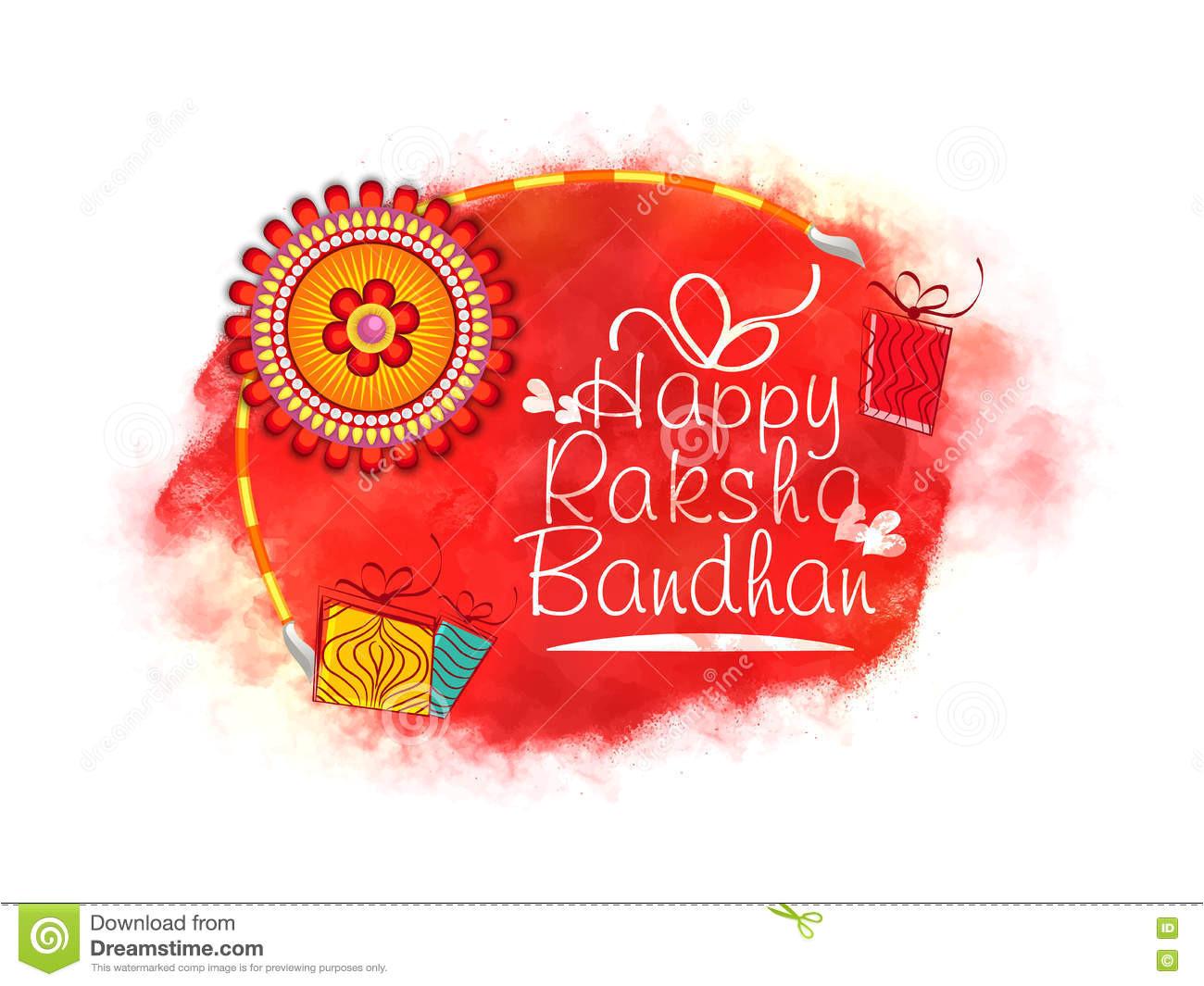 Beautiful Card On Raksha Bandhan Greeting Card for Raksha Bandhan Celebration Stock