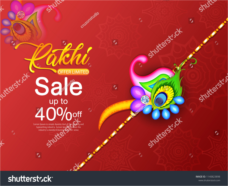 stock vector illustration of greeting card with decorative rakhi for raksha bandhan indian festival for brother 1140823898 jpg