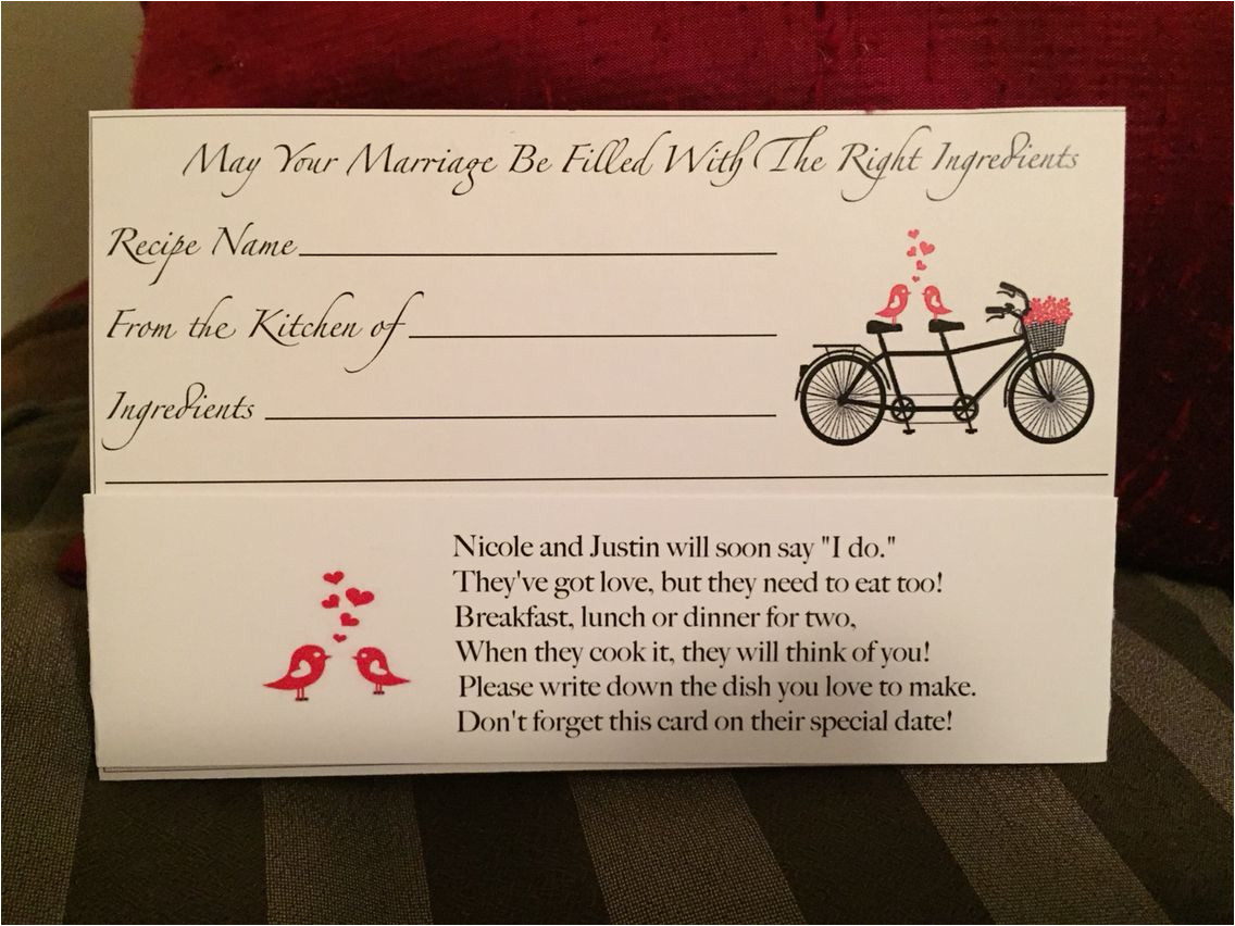 Beautiful Sayings to Write In A Wedding Card Recipe Card for Bridal Shower Cute Poem with Images