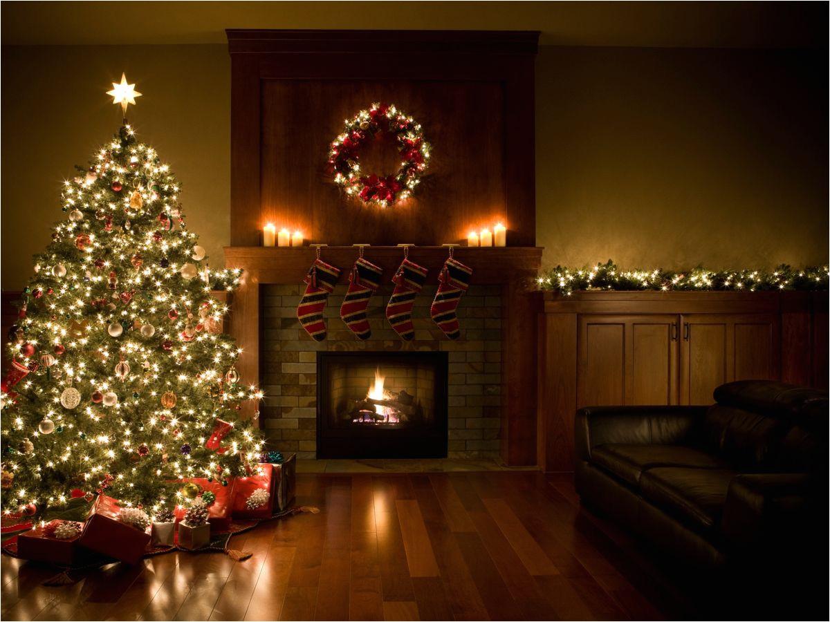 christmas tree wreath and garland inside living room jpg