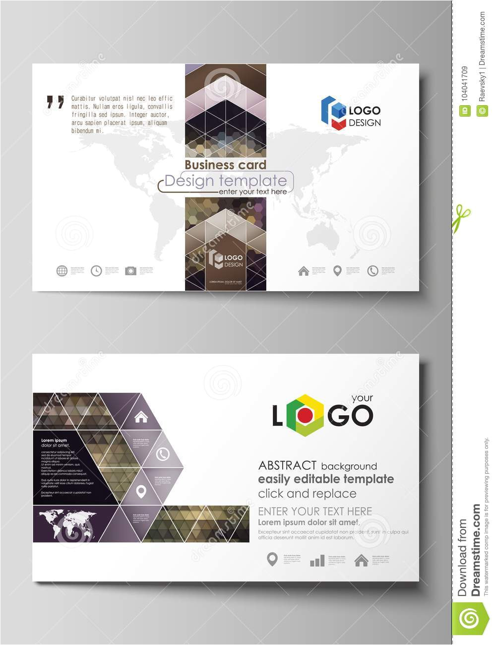 business card templates easy editable layout abstract vector design template multicolored backgrounds geometrical patterns 104041709 jpg