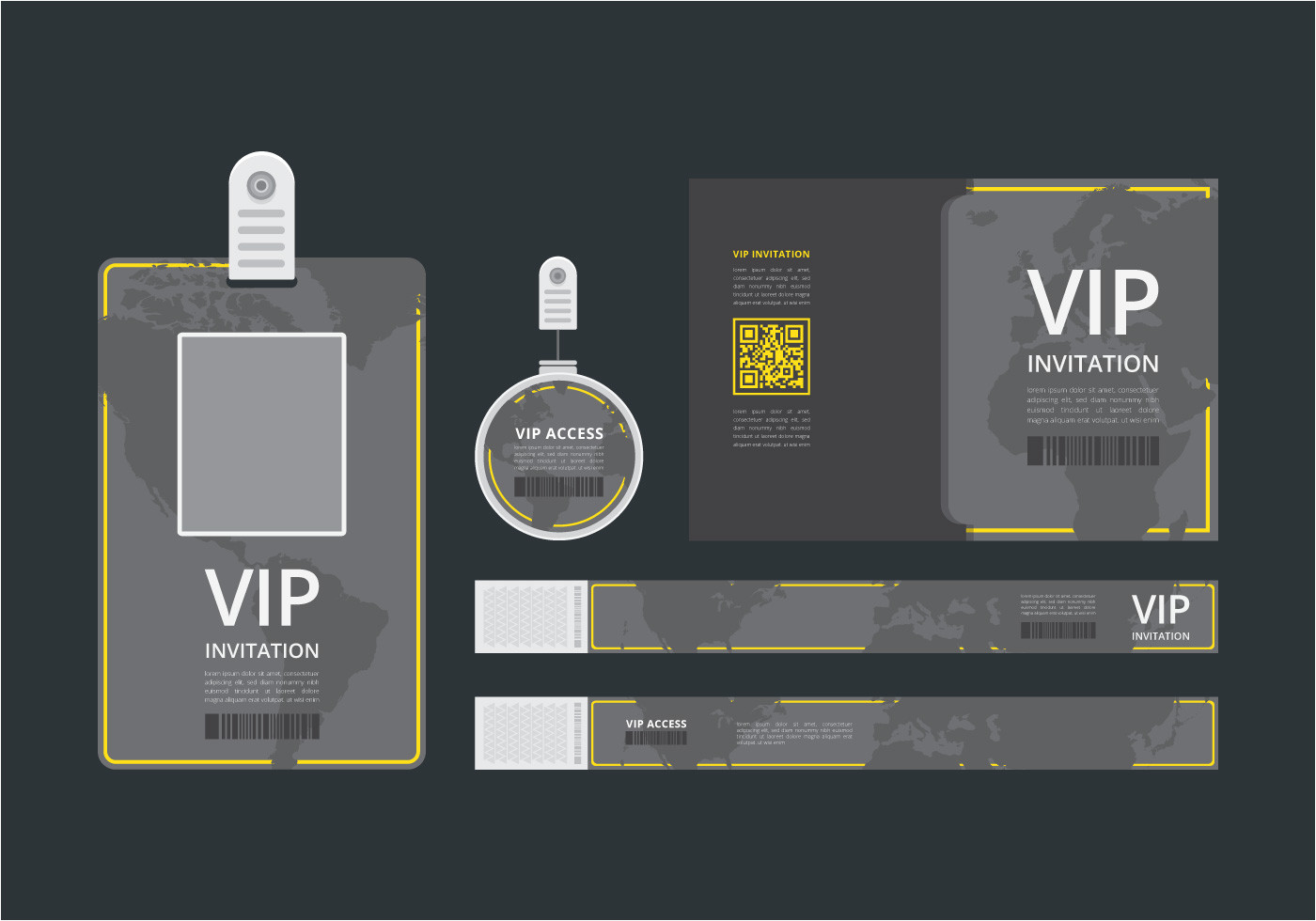 vip pass id card template vip pass for event template flat blank vertical id with yellow lines mockup jpg