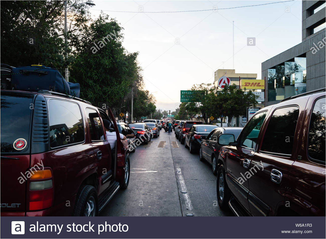 tijuana baja california mexico july 28 2019 the border crossing line stretches into zona rio congesting traffic in central tijuana and drawing s w6a1r3 jpg
