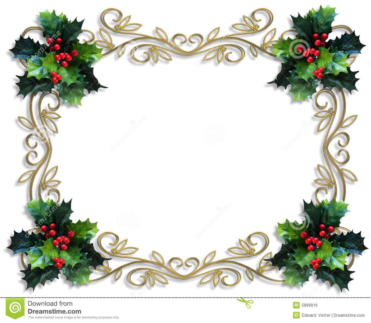 christmas border holly gold frame 5899916 jpg