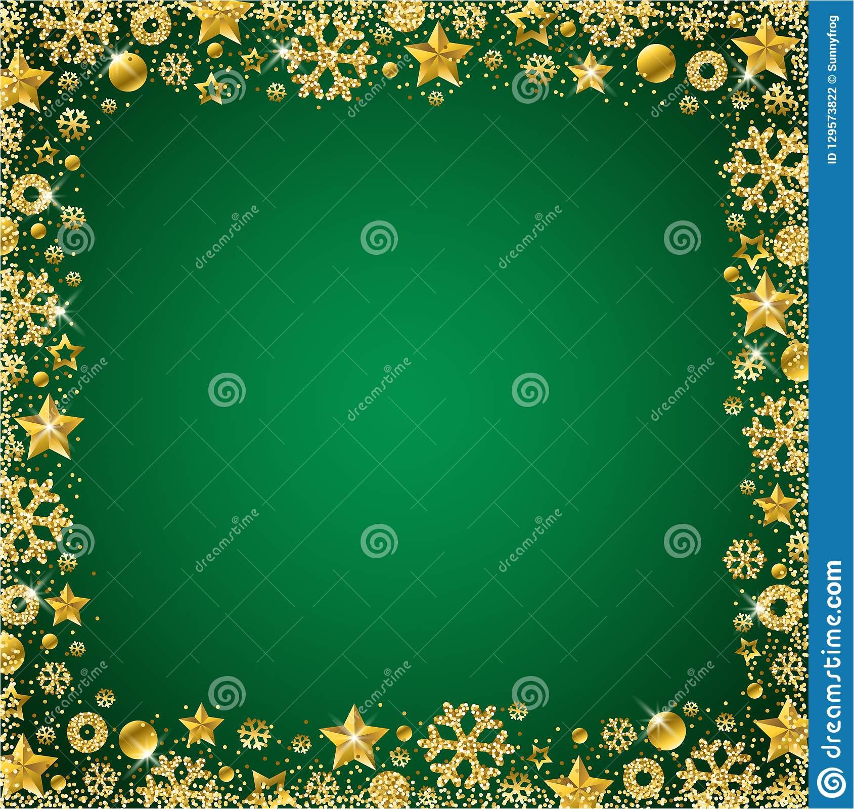 green christmas card border golden glittering snowflake snowflakes stars vector illustration 129573822 jpg