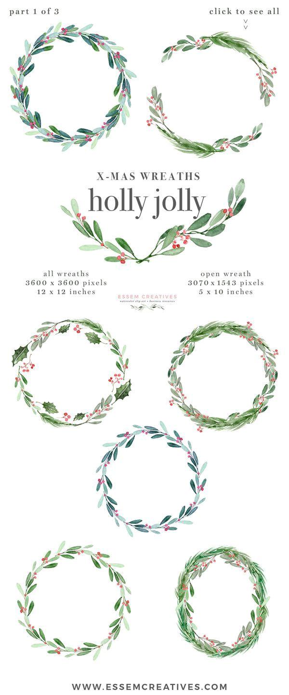 Border Design for Christmas Card Watercolor Christmas Wreath Clipart Christmas Card