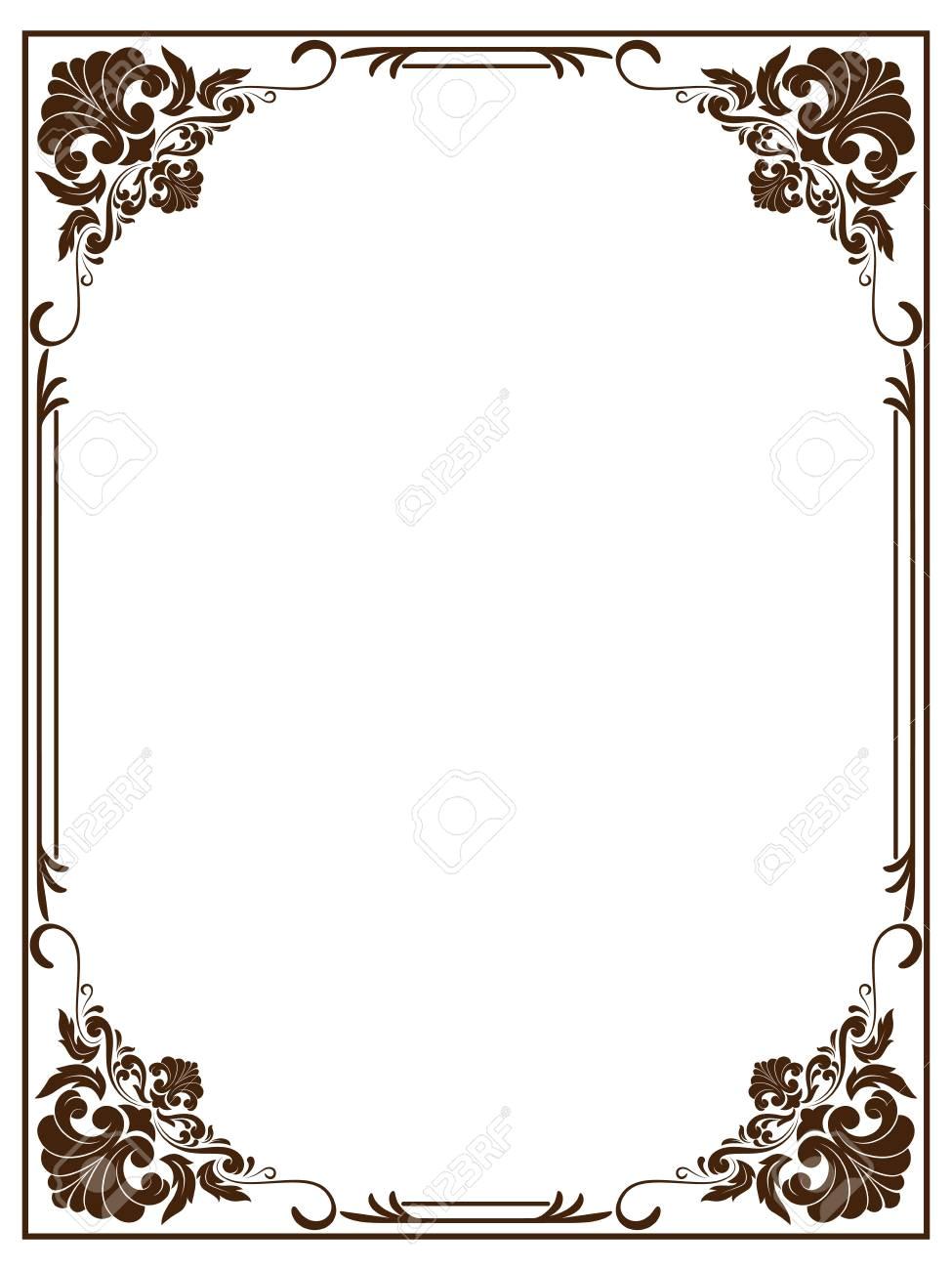 109668088 decorative frame in vintage style with beautiful filigree and retro border for premium invitation ca jpg