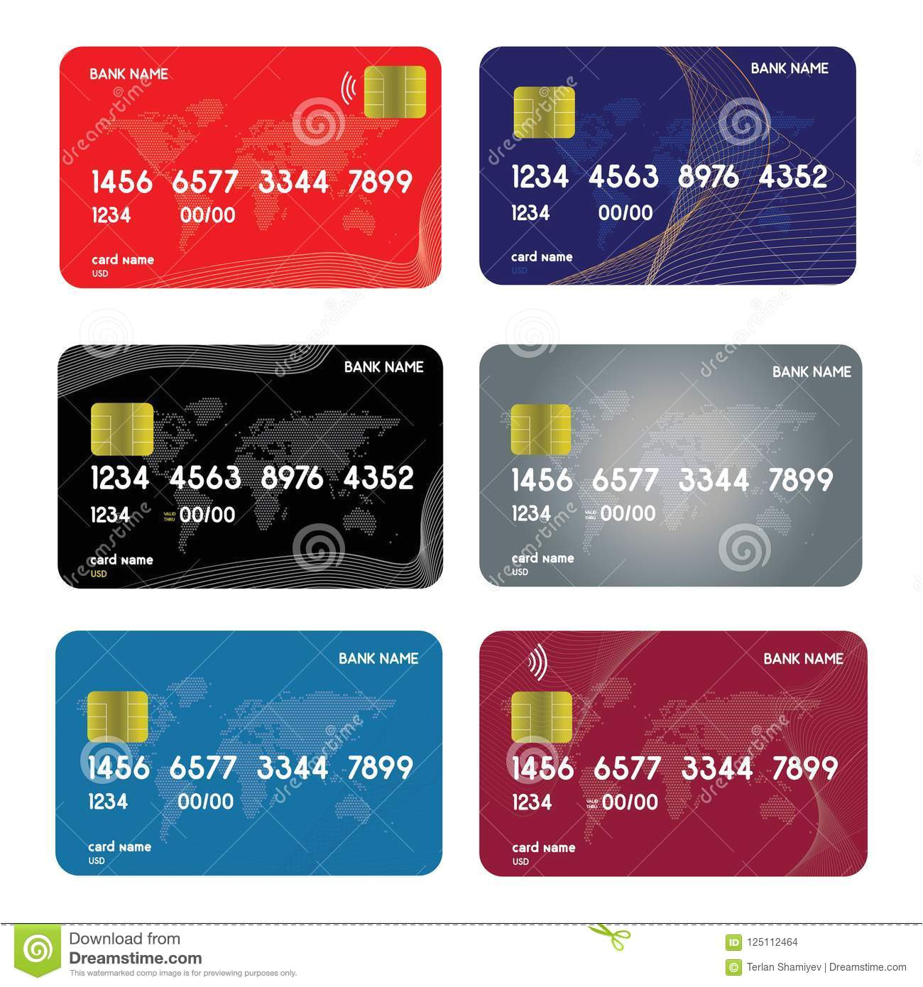 realistic detailed credit cards set colorful abstract design background vector illustration 125112464 jpg