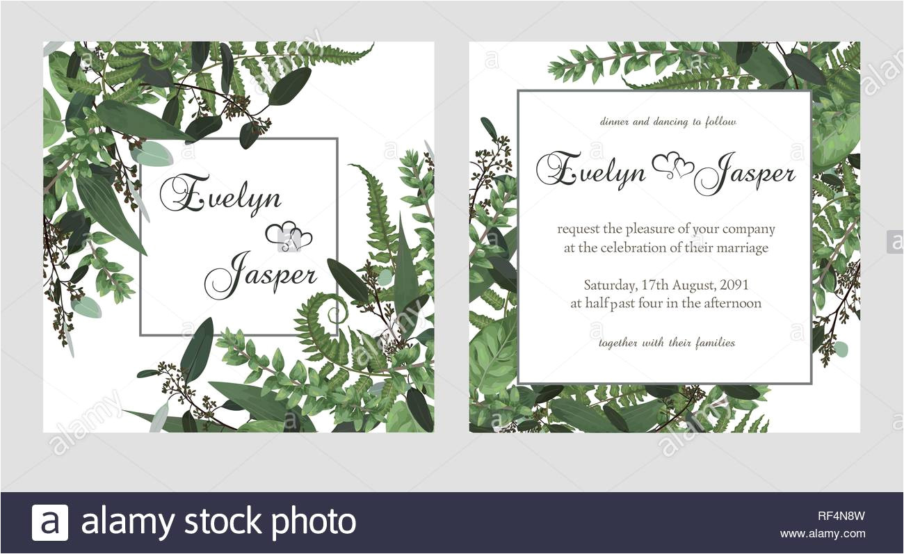 set for wedding invitation greeting card save date banner vintage square frame with green fern leaf boxwo od and eucalyptus sprigs isolated on wh rf4n8w jpg